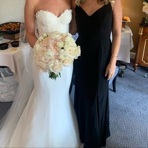 Black, formal gown/bridesmaid dress.